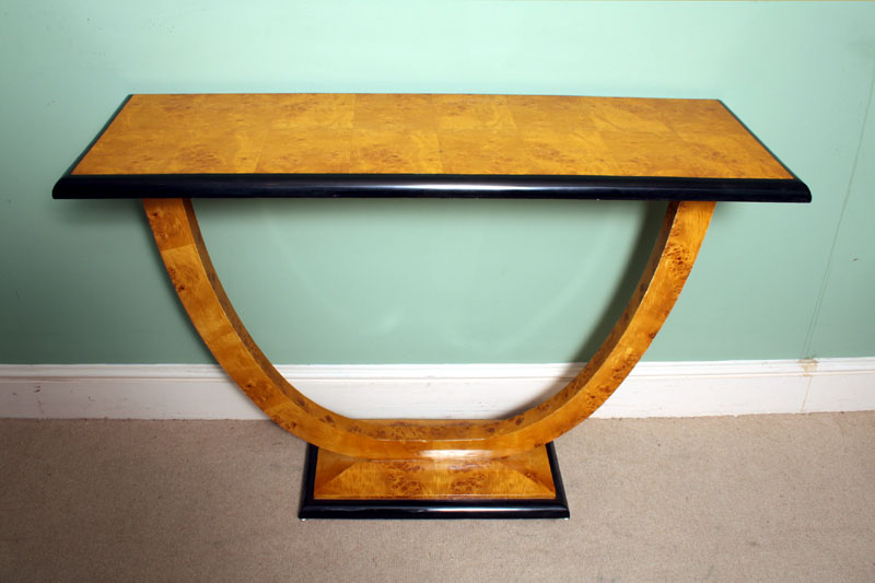 ... 01923 Art Deco Style Birdseye Maple Console Table  ...