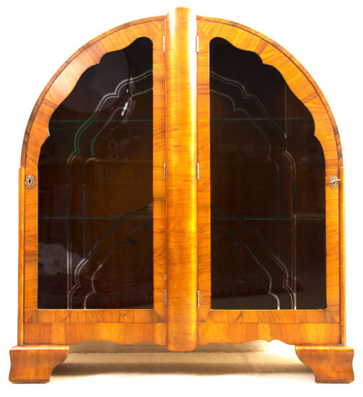 05984-Antique-Art-Deco-Walnut-Display-Cabinet-Bookcase-c.1920-1