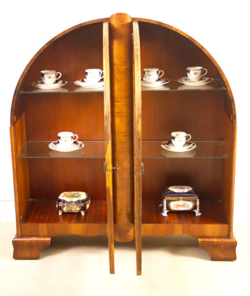 05984-Antique-Art-Deco-Walnut-Display-Cabinet-Bookcase-c.1920-2