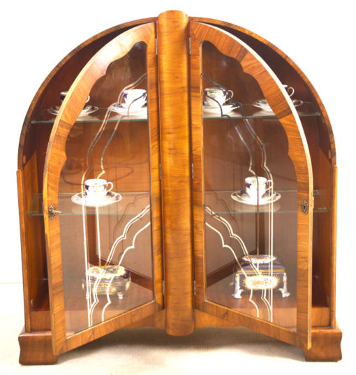 05984-Antique-Art-Deco-Walnut-Display-Cabinet-Bookcase-c.1920-3