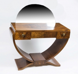Antique French Art-Deco Walnut Dressing Table. c.1925