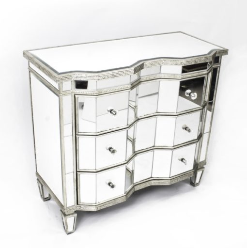 00267a - 17-Vintage-Serpentine-Art-Deco-Mirrored-Commode-Chest-20thC-1