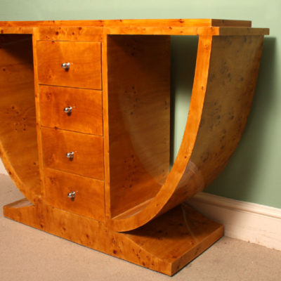 ... 01907 Beautiful Art Deco Style Birdseye Maple Console  ...