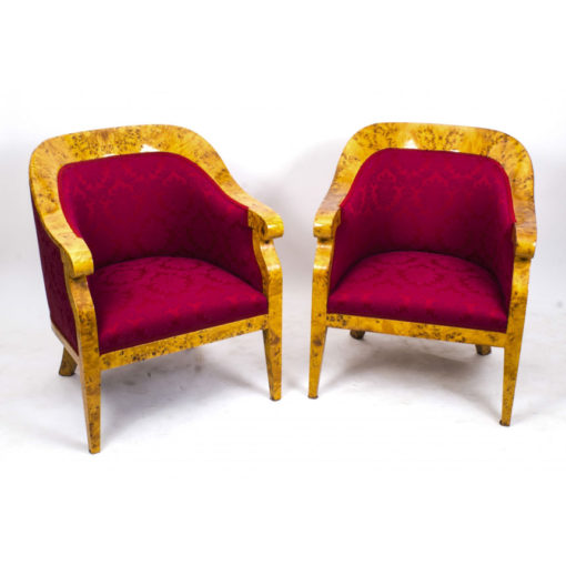 07909-Vintage-Pair-Birdseye-Maple-Art-Deco-Biedermeier-Armchairs-1