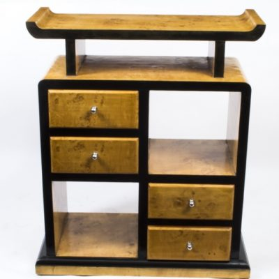 01916-Vintage-Elegant-Art-Deco-Birdseye-Maple-Cabinet-Bookcase-2