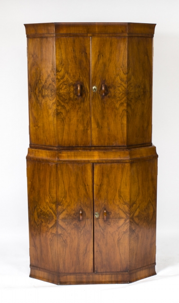 Antique Art Deco Cocktail Cabinet Burr Walnut